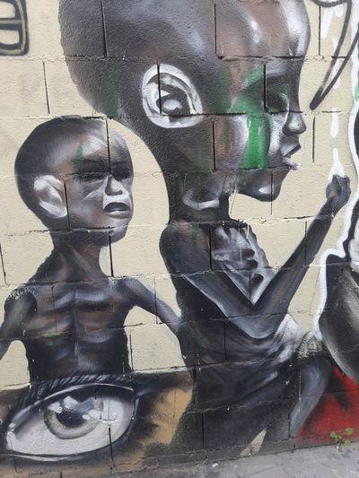 It is not fair African Children Poverty Close-up Spray Paint Graffiti Street Art Human Representation