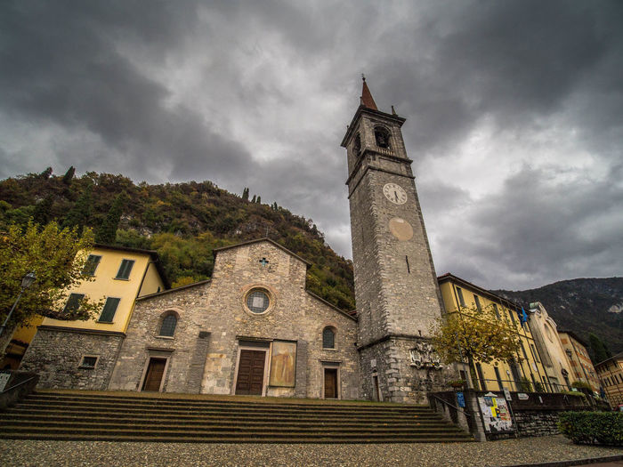 Architecture Building Exterior Built Structure Building Cloud - Sky Sky Tower Religion History Place Of Worship The Past Low Angle View Belief Spirituality Nature No People Old Italia Italianeography Como Como Lake Church Church Architecture Dramatic Sky Town