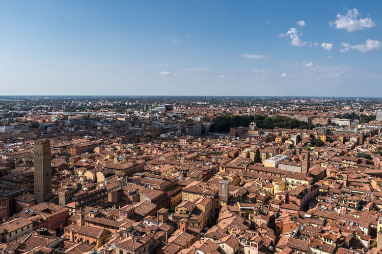 Bologna, Italy Bologna Bologna, Italy Italia Architecture Building Building Exterior Built Structure City Cityscape Day High Angle View Horizon Horizon Over Water Italy No People Outdoors Residential District Roof Sky Sunlight TOWNSCAPE