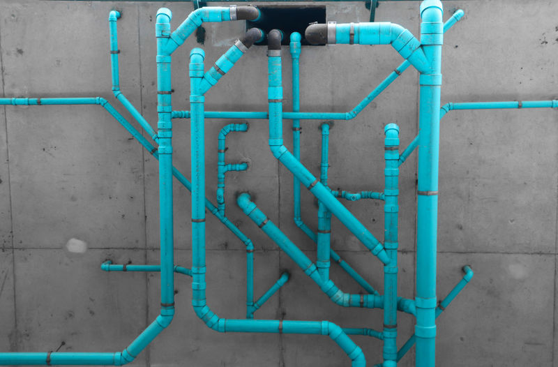 Blue Pipes On Wall