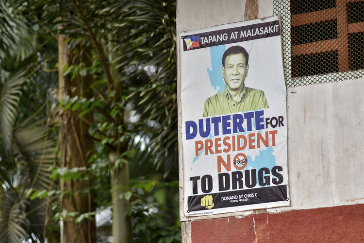 Philippines President Rodrigo Duterte campaign poster promoting his controversial War on Drugs / No to Drugs. Drugs Duterte No To Drugs Poster President Promise Rodrigo  Campaign Campaign Poster Campaign Promise Human Representation Say No To Drugs  Text Tree War On Drugs