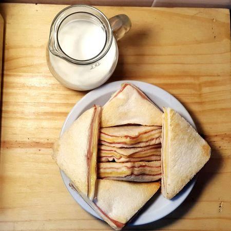 Breakfast Milk Sandwich Sandwiches Breakfast Time Leche Eyeem Food  Huge Breakfast Healthy Lifestyle Healthy Food Good Breakfast Healthy Breakfast Cenital View