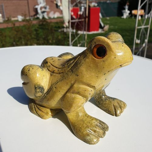 Close-up of frog statue