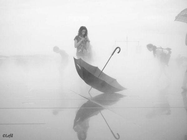 The Human Condition Child Young Girl Bordeaux Umbrella Foggy Day Fog Mysterious