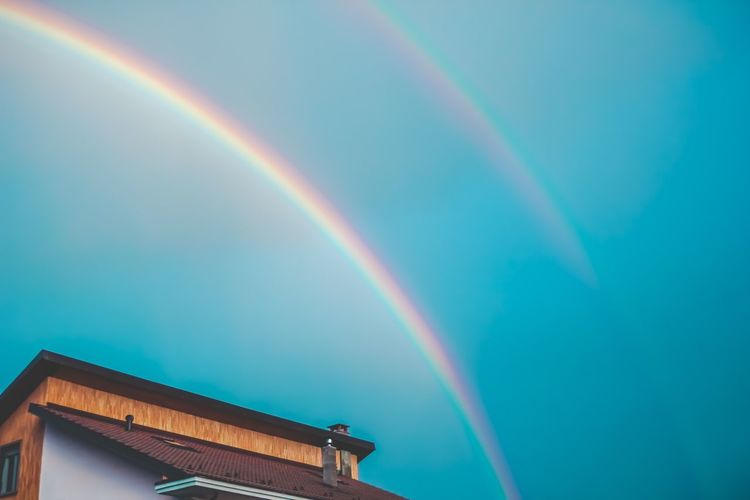 Double rainbow, double happiness 🌈 Rainbow Multi Colored Sky Low Angle View Architecture No People Beauty In Nature Building Exterior Scenics - Nature Double Rainbow Nature Blue Cloud - Sky Building Idyllic Day Outdoors Natural Phenomenon Built Structure