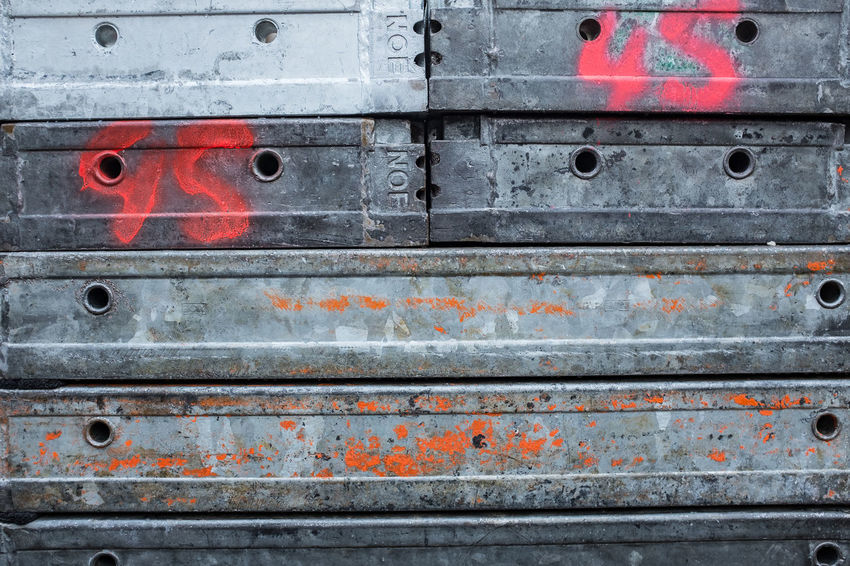 Architecture Backgrounds Buildingsite Close-up Cold Temperature Damaged Day Full Frame Industry Metal Multi Colored No People Obsolete Old Outdoors Paint Pattern Plank Red Textured  Weathered