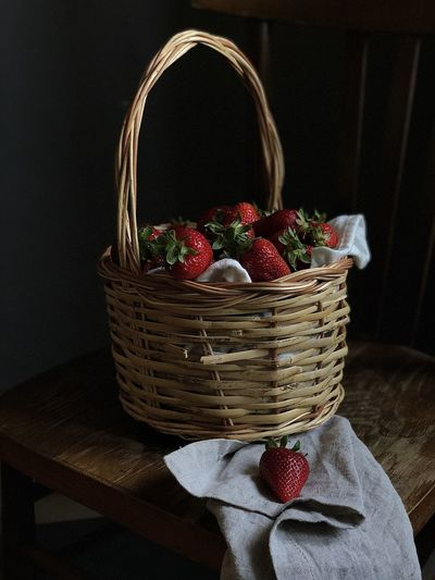 Close-up of strawberries in basket
