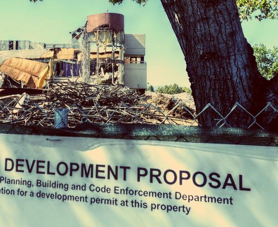 Demolition Demolished Knocked Down Pulled Down Office Building Signage
