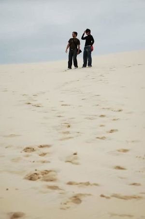 Young Women Full Length Men Togetherness Women Beach Sand Bonding Couple - Relationship Happiness
