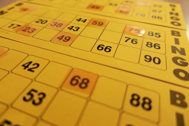 Close-up of bingo tickets