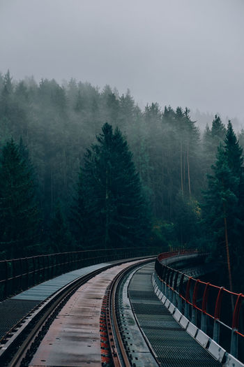 High angle view of railroad tracks amidst trees against sky