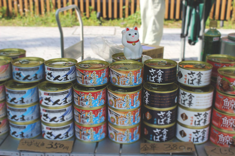 Japan Photography Tokyo Canned Fish Cat Figure Day Large Group Of Objects Lucky Charm Manekineko No People