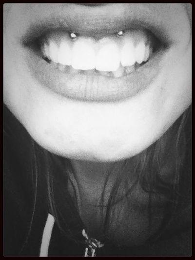 Piercing Blackandwhite Smiley Smile