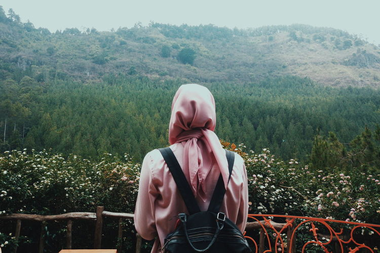 Pines Pines Hijabfashion Hijabstyle  Girl Young Women Tree Standing Women Front View Waist Up Sky Growing Plant Life