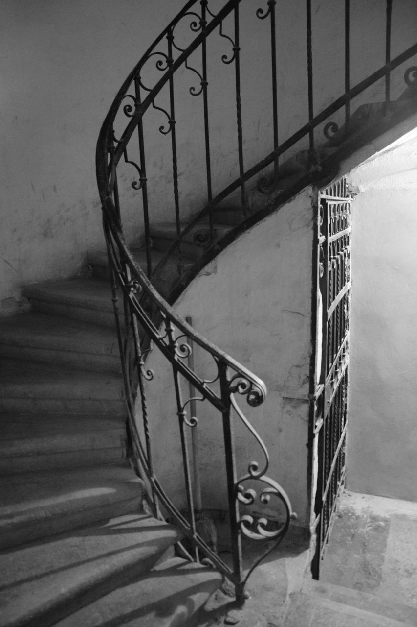 railing, staircase, steps and staircases, steps, no people, high angle view, architecture, built structure, stairs, indoors, hand rail, close-up, day, spiral staircase