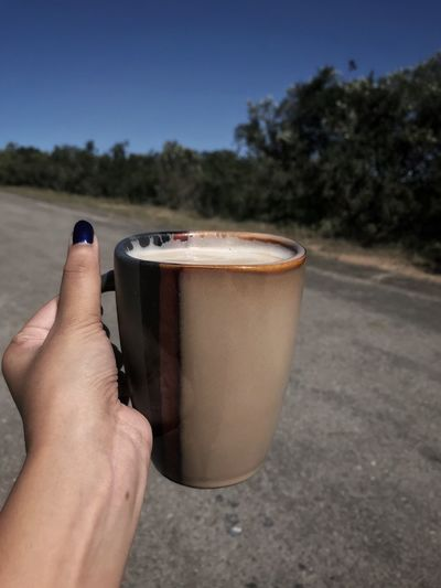 Coffee Human Hand Hand Human Body Part One Person Holding Tree Real People Unrecognizable Person Nature Plant Close-up Finger Food And Drink Personal Perspective Body Part Lifestyles Drink Leisure Activity