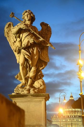 Statue Of Angel At Saint Angel Bridge In Rome
