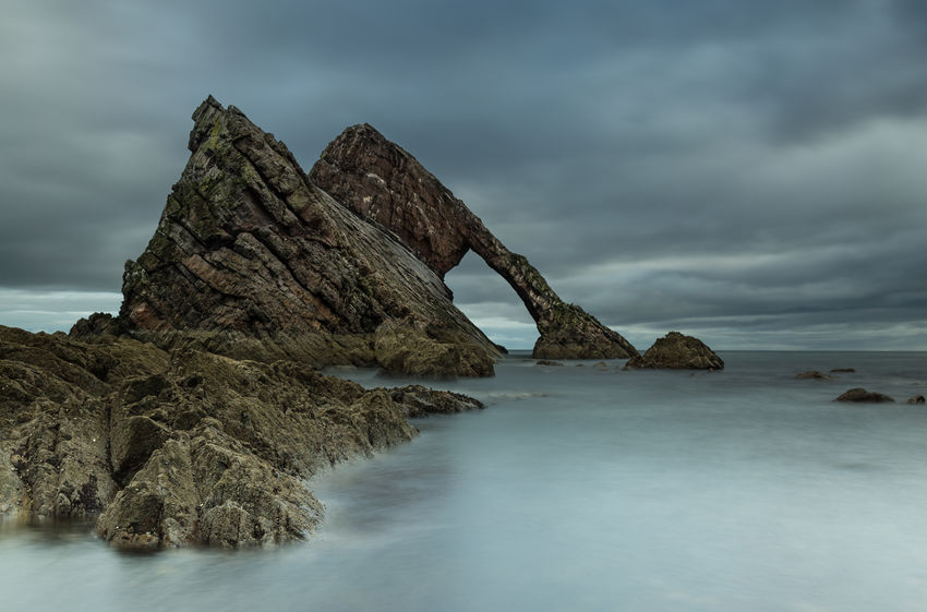 Bow Fiddle Rock, Scotland Beauty In Nature Cloud - Sky Horizon Over Water Landscape Nature No People Physical Geography Rock - Object Rock Formation Scenics Sea Seascape Sky Slow Shutter Speed Still Life Tranquil Scene Tranquility Water Waterfront