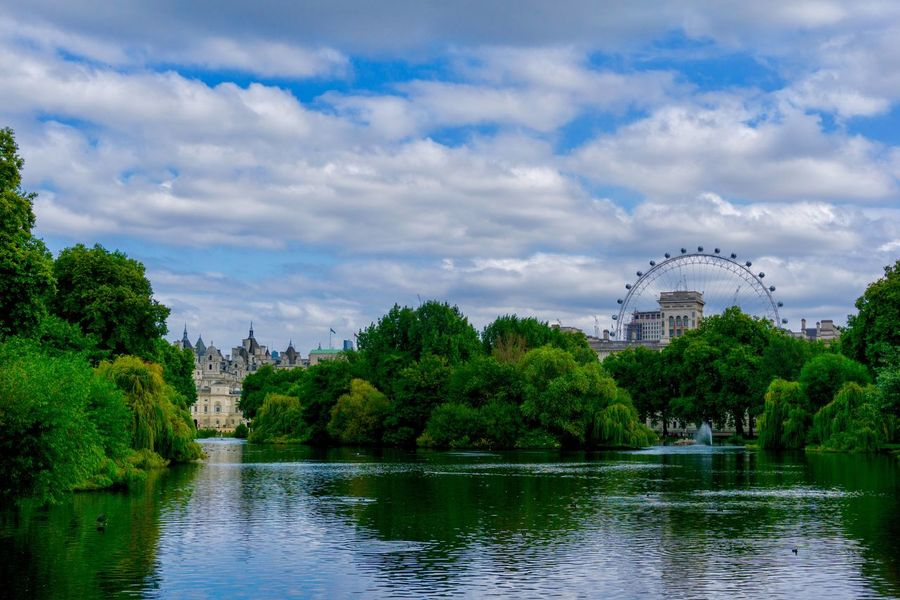 Impressionistic view of St. jame's Park Lake with London Eye in the background Museum Impressive Clouds Fairy Tale London Eye Summertime London Reflections Impressionism Romantic Scenerey Landscape Lake St. Jame's Park Lake Sky Water Tree Plant Nature Architecture Tourism Travel Destinations
