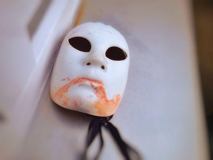 High angle view of mask on table