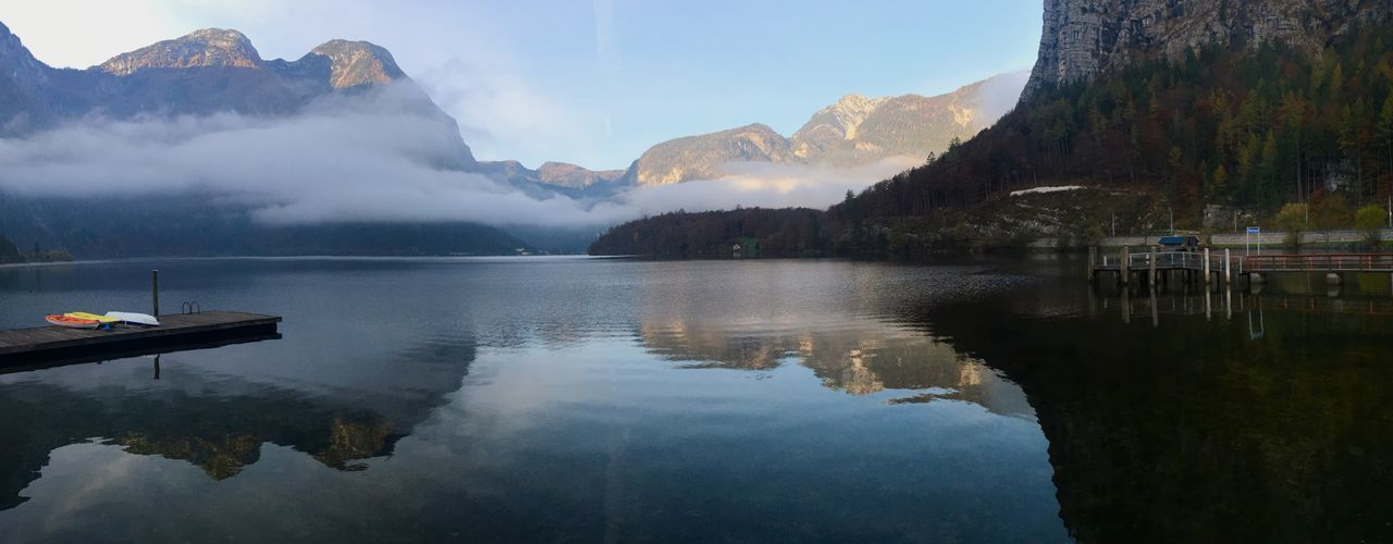 Panoramic shot of lake and mountains against sky