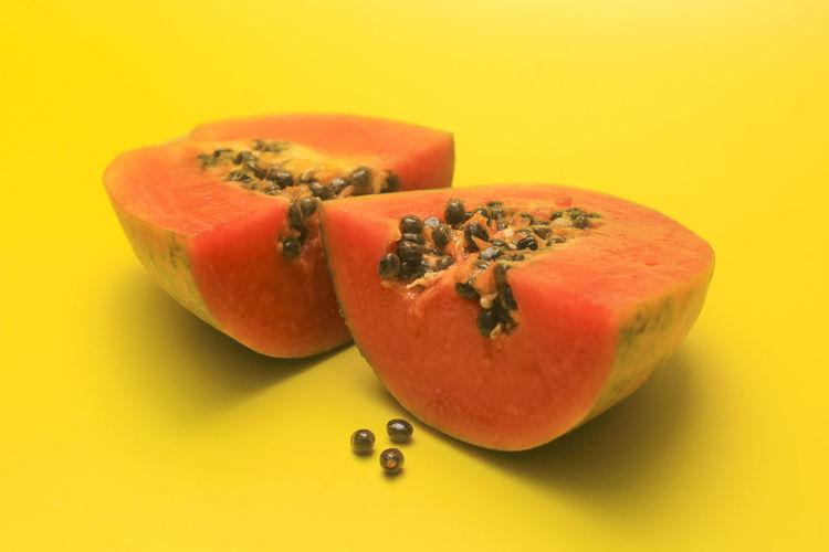 A B Backgrounds Close-up EyeEm Gallery Fruit No People Papaya Vitamin Vitamin A Vitamin B Yellow