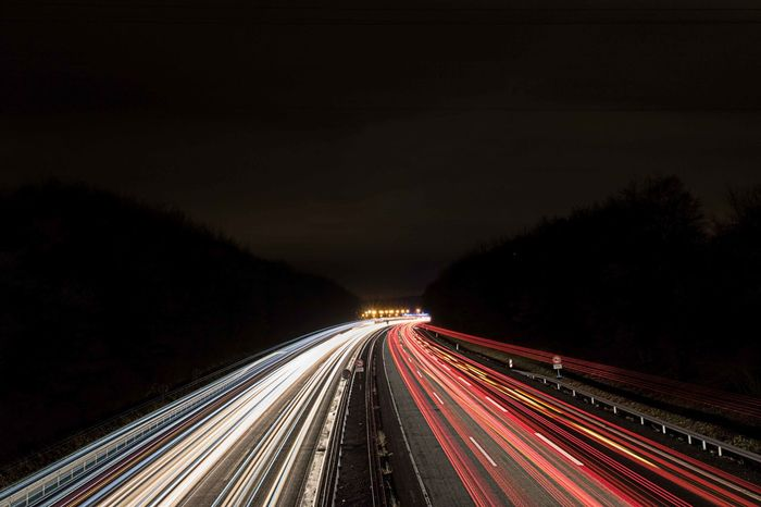 Lightpainting Highway 2 Long Exposure Lights Licht Fotografia Stadt Night Nacht Clouds Fotografie Winter Space Sky Illuminated Motion Long Exposure Speed Light Trail Red Driving Car Traffic Vehicle Light Highway Traffic Circle Stoplight