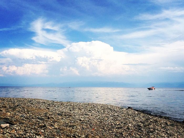 Clouds Tranquility Tranquil Scene Scenics Beauty In Nature Cloud - Sky Horizon Over Water Beach Day Nautical Vessel