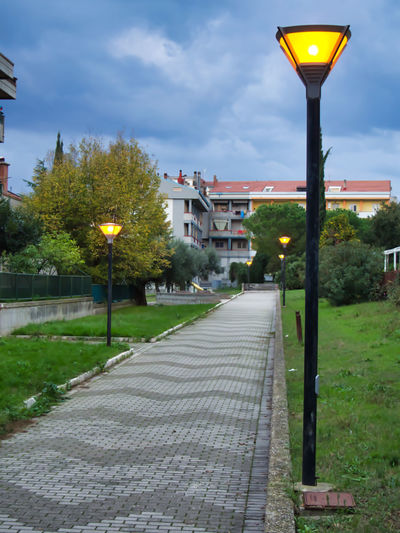 Street amidst trees and plants in city against sky