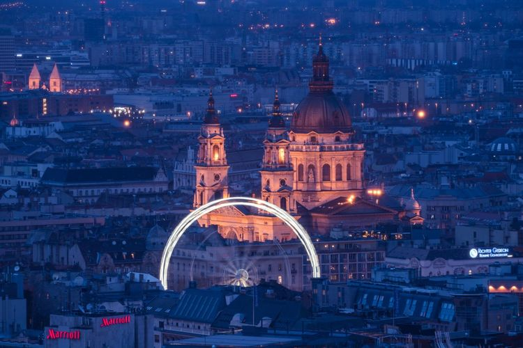 Round and round Szent István-bazilika Hungary Budapest Long Exposure Architecture City Building Exterior Night Built Structure Illuminated Travel Destinations Building Cityscape Religion Place Of Worship Travel Tourism Belief High Angle View