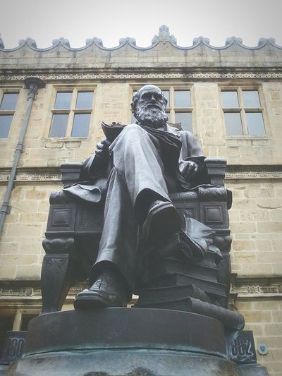 Darwin ... Sculpture Uk Britain Shrewsbury Library скульптура Дарвин England Shropshire