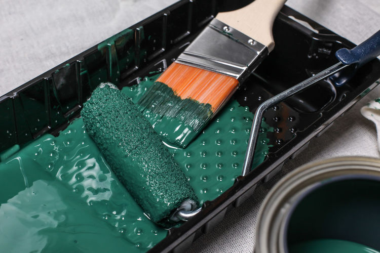 Painting tools Brush Green Color Home Improvement Improvement Indoors  Labor No People Painting Painting Tools Roller Tools Tray Business Stories