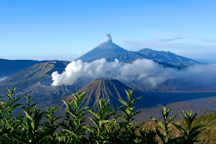 Mount Bromo, an active volcano and part of the Tengger Semeru National Park in East Java, Indonesia. Active Volcancos Active Volcano Blue Sky Background Bromo Mountain Indonesia Bromomountain Crater Java Java Indonesia Mountain Nature Photography No People Outdoors Scenery Pictures Semeru Smoke - Physical Structure Tengger Bromo Tengger Semeru Tourism Destination Travel Travel Destinations Travel Photography Volcanic Crater Volcanic Landscape Volcano White Smoke EyeEmNewHere