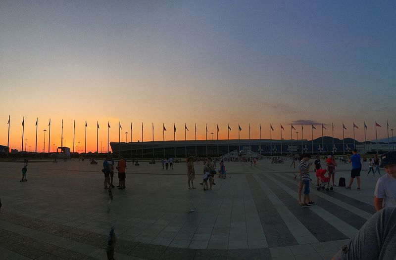 Russia Sochi Group Of People Sky Sunset Large Group Of People Crowd Real People Beach Nature