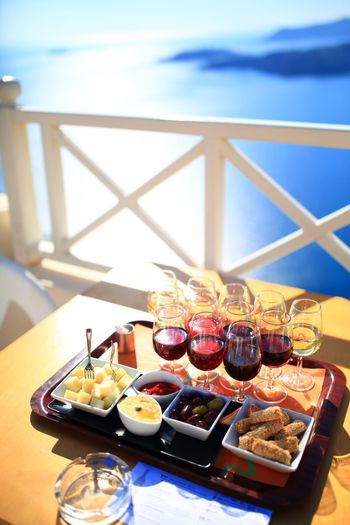 Table Food And Drink No People Ready-to-eat Freshness Landscape Alcohol Drink Wine Sea Restaurant By The Sea Restaurant Scene Restaurant Food