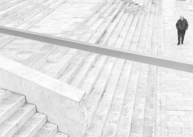 Emptiness is loneliness. Blackandwhite Black And White Monochrome Bw_collection Streetphotography Urban Geometry People Architecture Odetomycity Myalbania