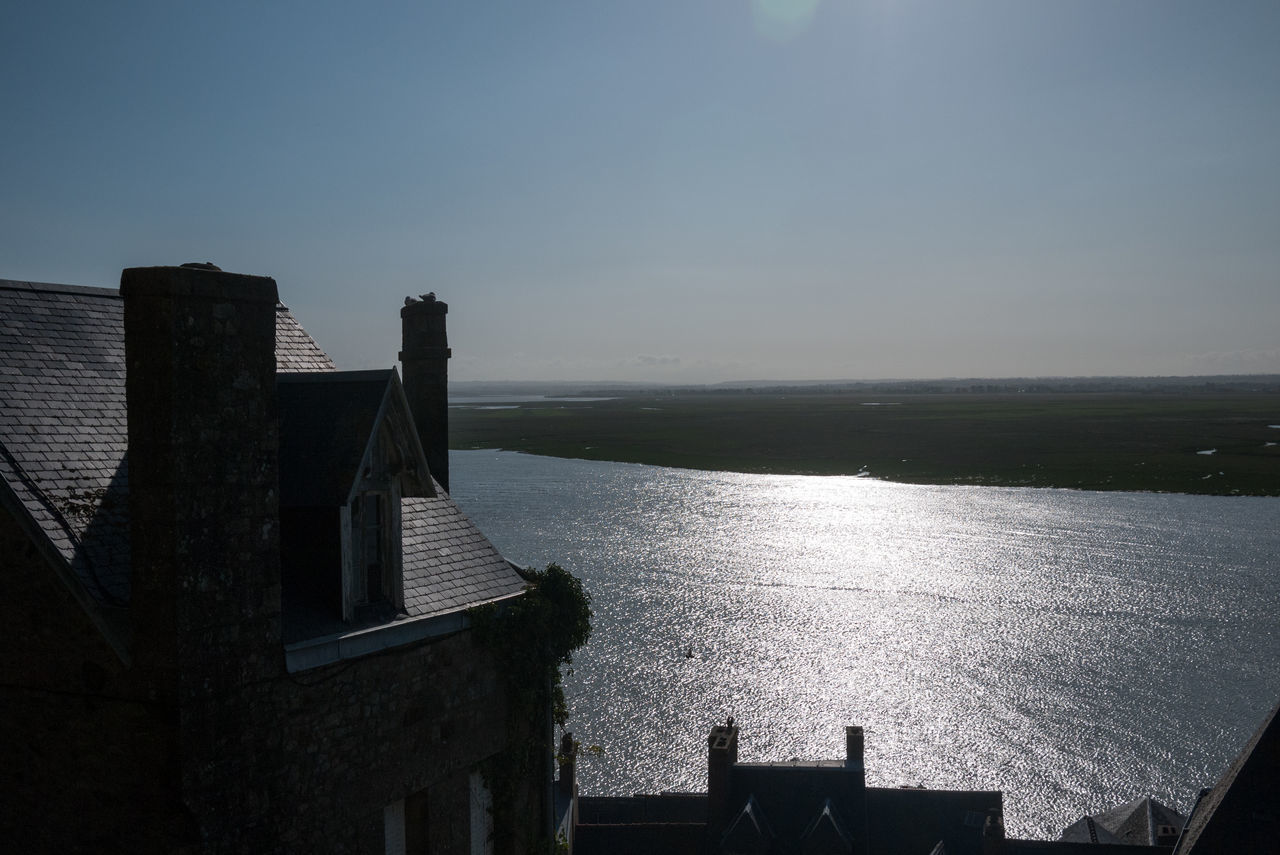High Angle View Of House And River Against Clear Sky