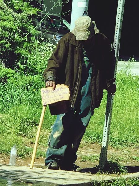 Real Life Homelessness  Homeless Person Panhandler Panhandling Real People Atlanta Urban Decay Communication Cardboard Sign City Life Homeless Homeless Man Full Length Looking Down One Person