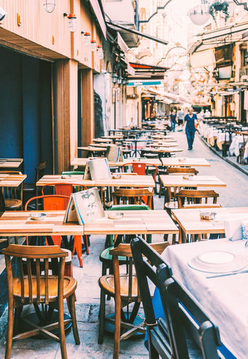 Chair Restaurants Chair Chairs Europe No People Outdoor Cafe Outdoors Restaurant Street Table Table And Chairs Tables Tabletop Wooden