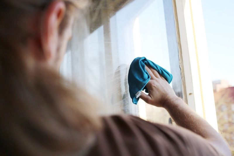 Indoors  Real People One Person Window Holding Rear View Close-up Technology Day Young Adult Adult Working Man Window Cleaning Working One Man Only Only Men Cleaning Indoors  Washing Water Window Frame Home Interior Adults Only Cloth Real Life