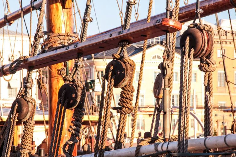 Close-up Day Helsinki Low Angle View No People Outdoors Rigging Sail Ship Sky