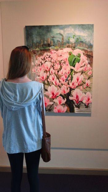 Local Art Gallery Art Hertford Display ArtWork Artistic Flowers Parakeets Pink Flowers Girl Looking Looking At Art Long Hair Teenager Watching People Teenage Girl ADMIRING Admiring Art Canvas Canvas Art Hair To One Side Bag On The Shoulder Standing Tall