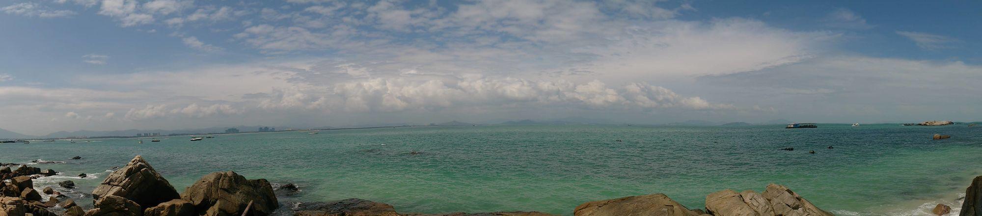 Panorama Hello World Seascape on Wuzhizhou island,Sanya,Hainan