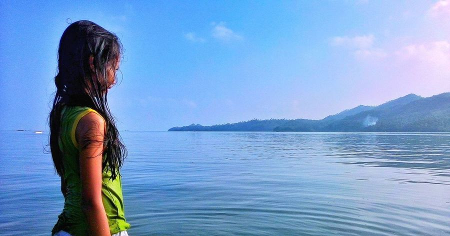 The SEArch | Sea People Beach Seascape Blue Hot Day Wet Hot Girl Tan Nature Island Far Looking Away Sky Mountain Summer Morning