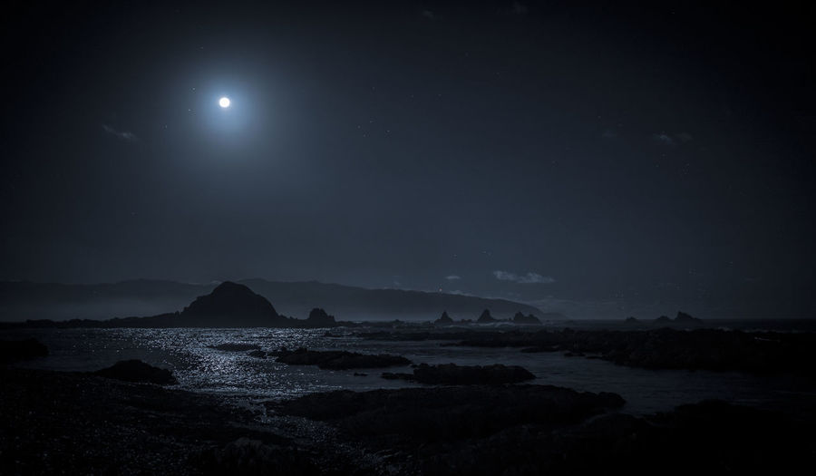 island bay moonlight Beach Beauty In Nature Dark Full Moon Land Moon Moonlight Nature Night No People Outdoors Rock Rock - Object Scenics - Nature Sea Sky Solid Tranquil Scene Tranquility Water