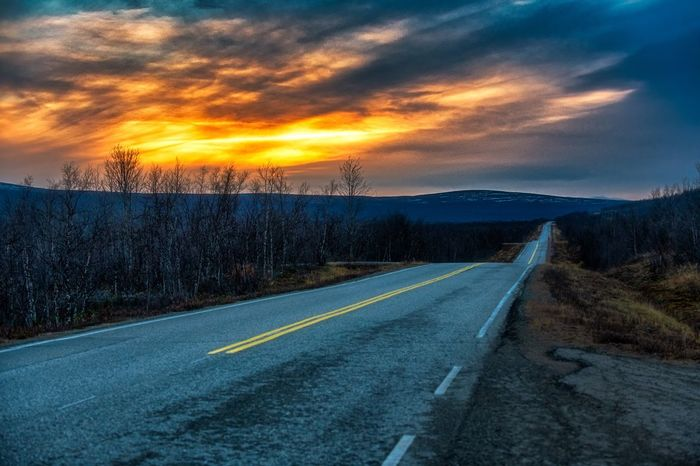Road Sky Cloud - Sky Direction The Way Forward Symbol Transportation Sunset No People Scenics - Nature