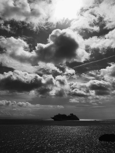 Ship on the ocean Blackandwhite Cloud Sky Blackandwhite Vertical Monochrome Blackandwhite Ship Ocean Cloud - Sky Sky Water Beauty In Nature Sea Scenics - Nature Nature Tranquility Tranquil Scene No People Day Horizon Horizon Over Water Outdoors Land