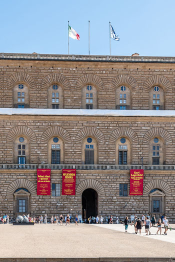 Pallazo Pitti in Florence Palazzo Travel Tuscany Architecture Building Exterior Built Structure Clear Sky Day Destination Landmark Large Group Of People Outdoors Palace Palazzo Pitti Real People Renaissance Architecture Tourism Travel Destinations Vertical