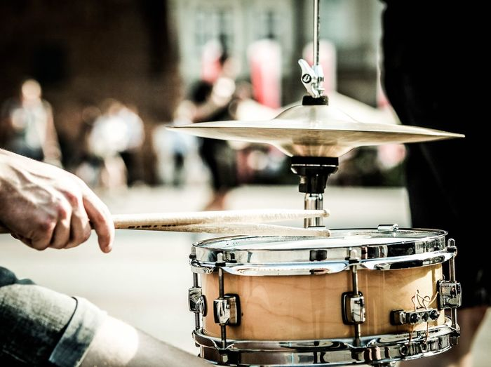 Drum - Percussion Instrument Drumstick Music Musical Instrument Cymbal Drum Kit Drummer Arts Culture And Entertainment Focus On Foreground Real People Playing Musician Human Hand One Person Men Recording Studio Indoors  Close-up Day People