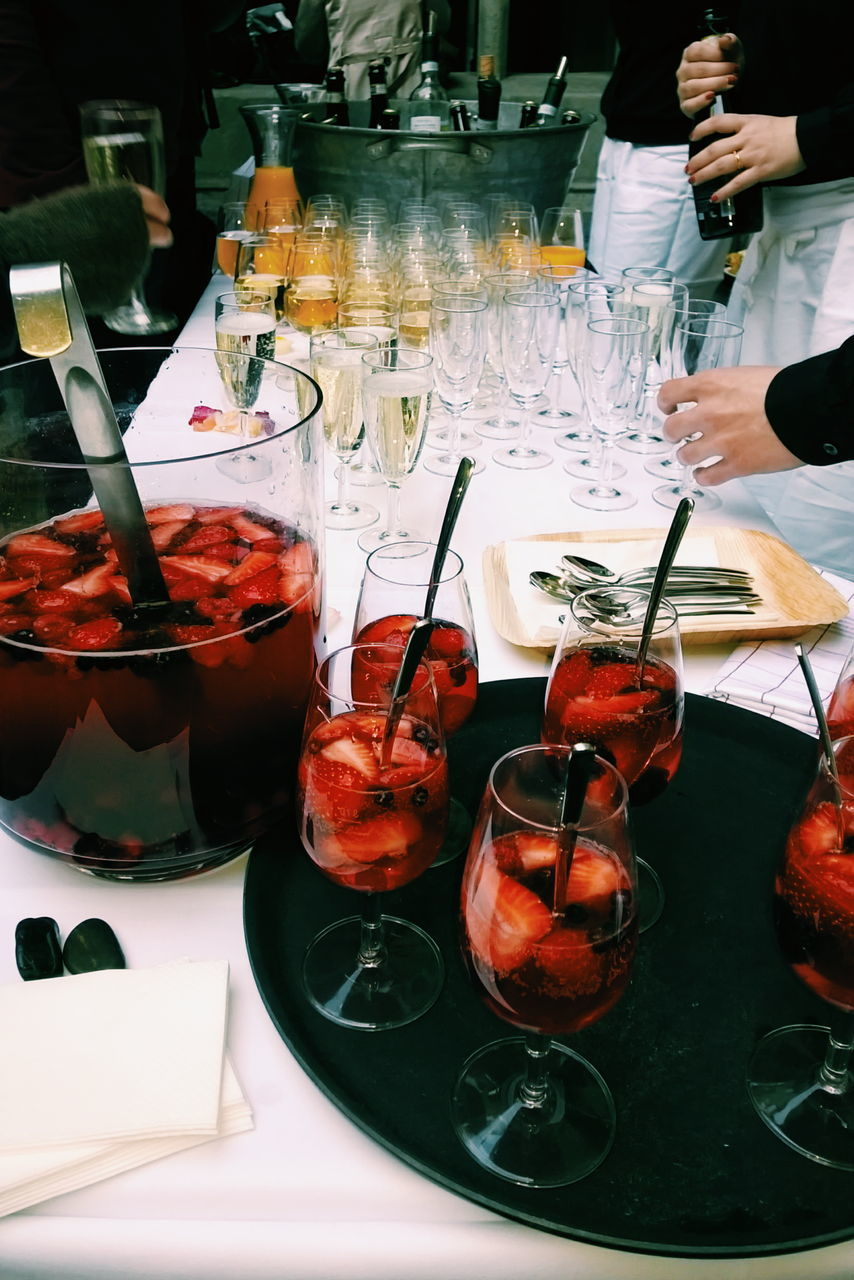 Strawberry Drinks In Wineglass On Table
